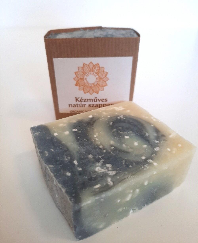 Napvirág arctisztító szappan szénnel és Holt-tengeri sóval, olíva- és ricinusolajjaj, 80 g