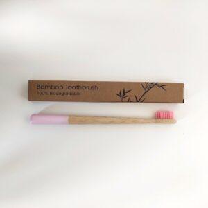 bambusz fogkefe rózsaszín 1 db
