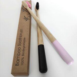 páros fekete rózsaszín bambusz fogkefe